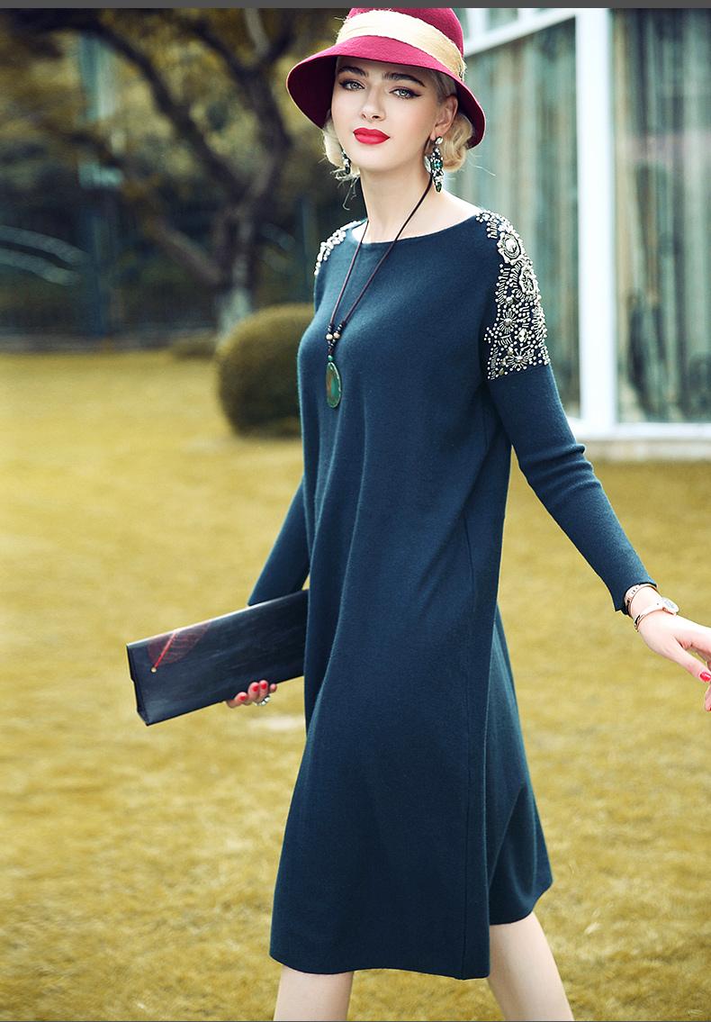 秋装钉珠针织连衣裙女 秋装设计款中长裙