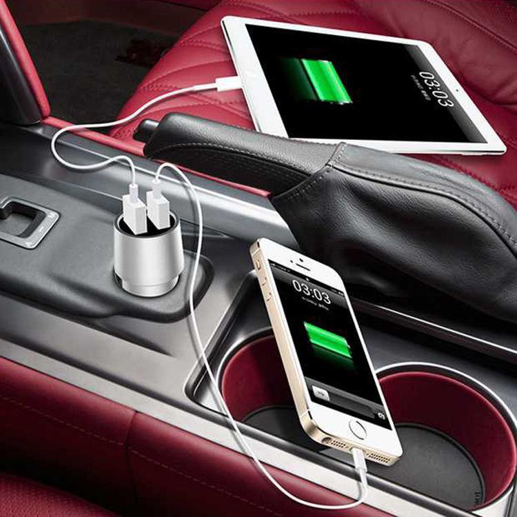 双USB车充新款全金属车充 批发多功能车载充电器车载电源安全车充
