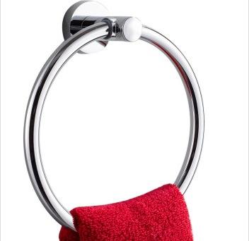 奥尔法/AOERFA卫生间浴室五金挂件卫浴全铜圆形毛巾环 铬色