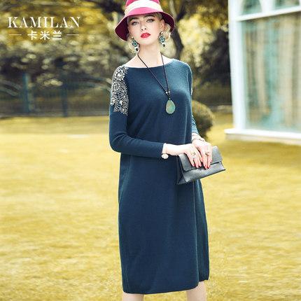 卡米兰2016冬装新款重工钉珠针织连衣裙女宽松长袖中长裙
