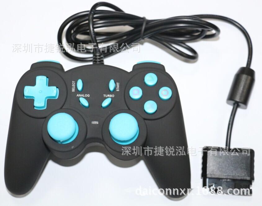 PS2游戏手柄批发.兼容PS2主机,PS2有线震动游戏手柄,双马达双震