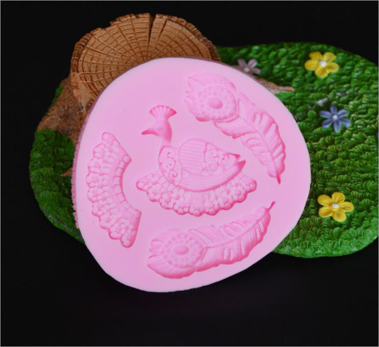 孔雀羽毛翅膀DIY翻糖硅胶模具翻糖蛋糕硅胶模具巧克力蛋糕模具