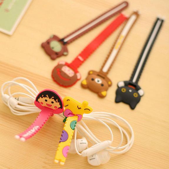 可爱耳机绕线器 卡通锯齿集线器理线器电线收纳缠线器