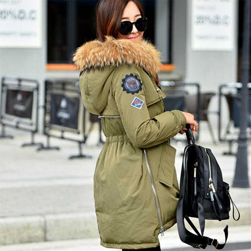 2016冬季韩国新款女装羽绒衣军工装显瘦肩章大毛领白鸭绒羽绒服女