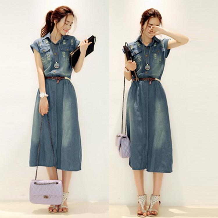 厂家货源韩版修身牛仔连衣裙 女装休闲牛仔长裙报价
