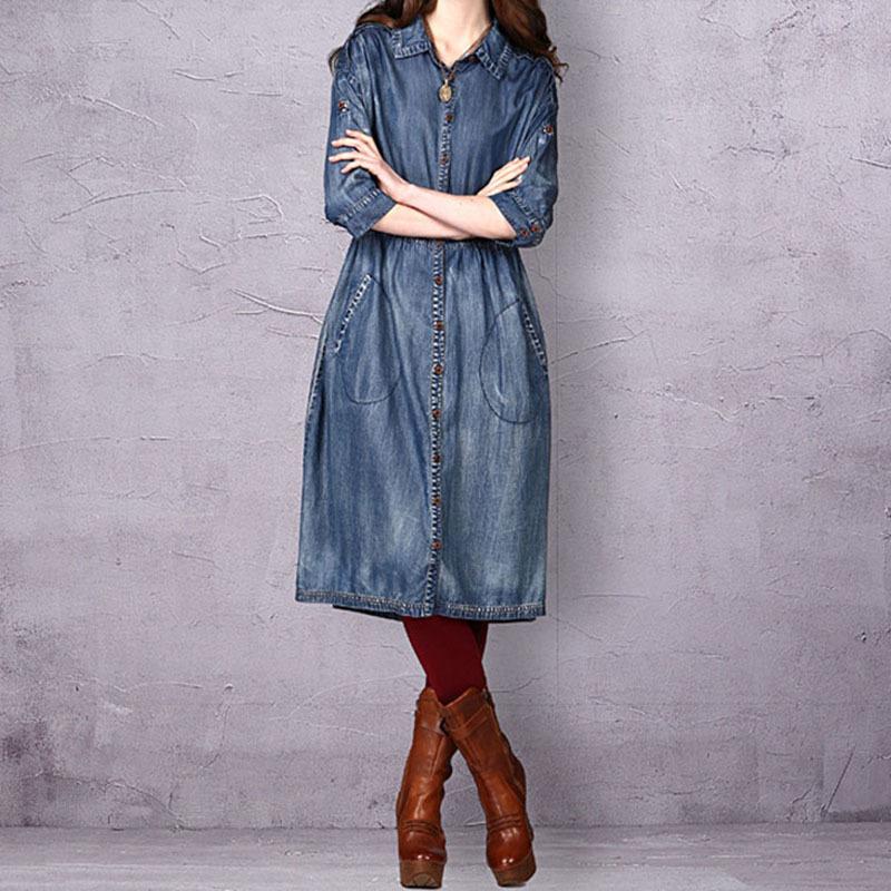 新款秋季牛仔连衣裙批发价 新款秋季牛仔连衣裙厂家直销