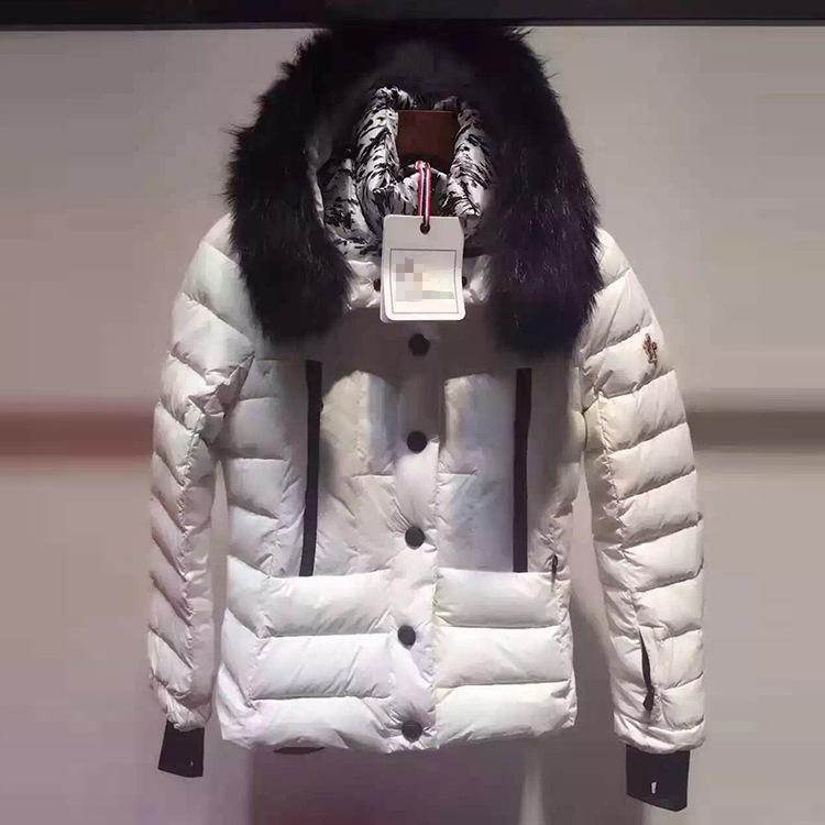 2016冬季原单白鹅绒狐狸毛领羽绒服 版型修身显瘦外套棉衣直销