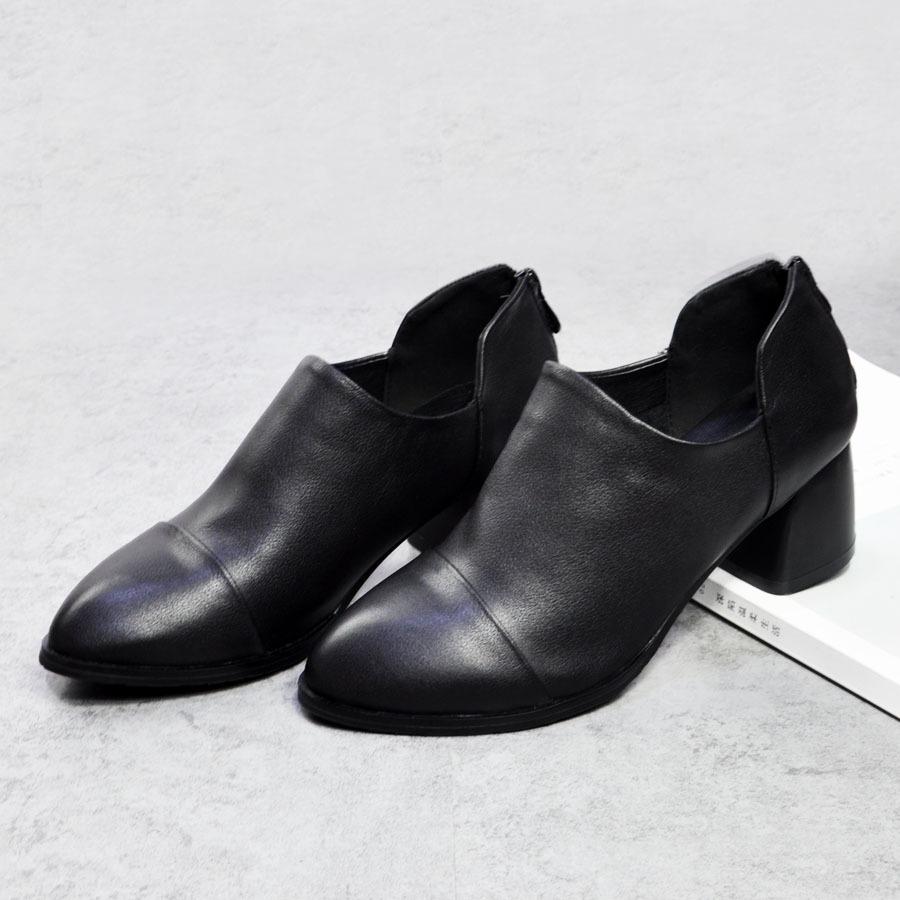 厂家直销秋冬新款真皮深口女单鞋欧洲站粗跟女鞋正装鞋后拉链
