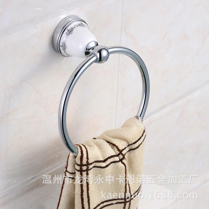 镀铬浴巾架新款毛巾架欧式卫浴五金挂件浴室挂件毛巾环