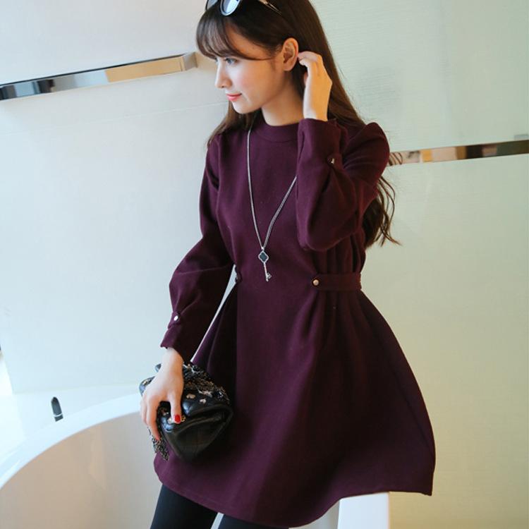 2016冬季新款收腰显瘦毛呢圆领长袖哺乳连衣裙韩版时尚外出哺乳装