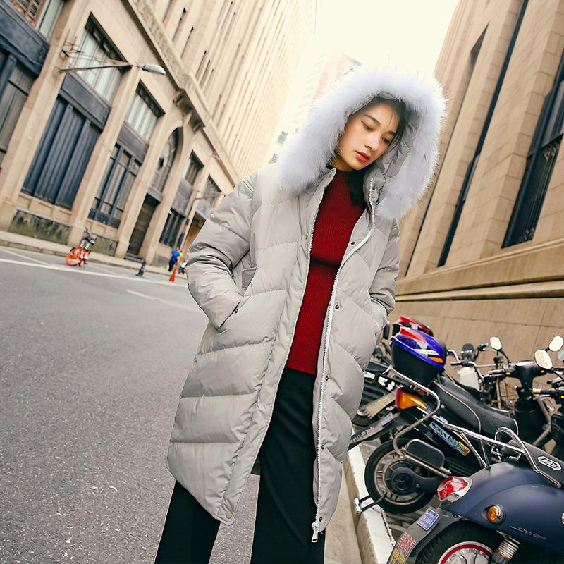 杭州秀哲2016秋冬女装新款羽绒服女白鸭绒加长加厚大毛领过膝皮条