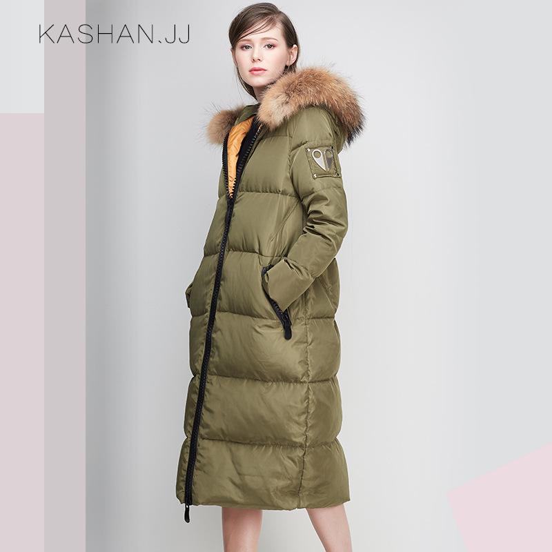 欧美2016冬装新款连帽狐狸毛领加厚白鸭绒长款羽绒服女外套批发