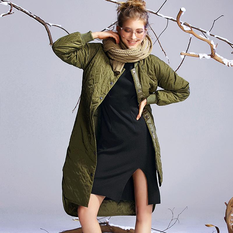 2016欧美冬季新款羽绒服 纯色长款保暖白鸭绒不规则高档羽绒服女