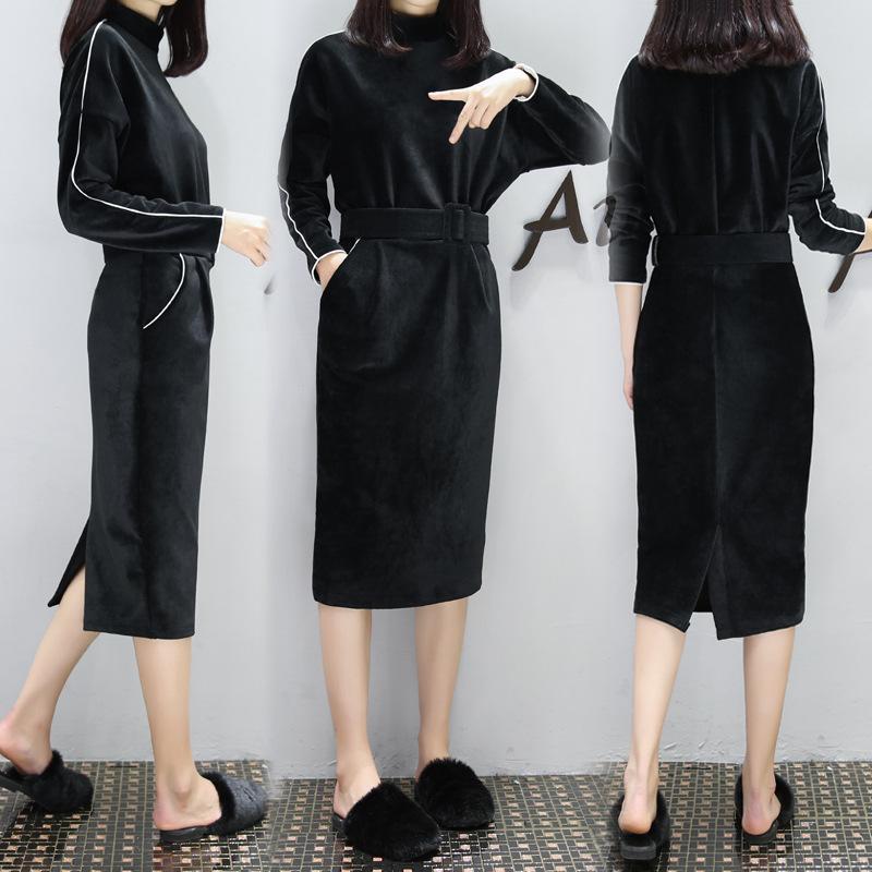欧货2016冬季新款中长款修身显瘦打底裙女韩版加绒长袖秋冬连衣裙